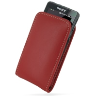 Leather Vertical Pouch Belt Clip Case for Sony Walkman NWZ-X1050 NWZ-X1060 NWZ-X1000 (Red)