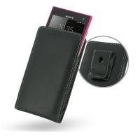 Sony Xperia Acro S Pouch Case with Belt Clip PDair Premium Hadmade Genuine Leather Protective Case Sleeve Wallet