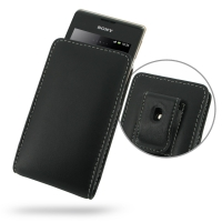 Sony Xperia E Dual Pouch Case with Belt Clip PDair Premium Hadmade Genuine Leather Protective Case Sleeve Wallet