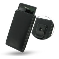 Leather Vertical Pouch Belt Clip Case for Sony Xperia J ST26