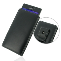 Sony Xperia M2 Pouch Case with Belt Clip PDair Premium Hadmade Genuine Leather Protective Case Sleeve Wallet
