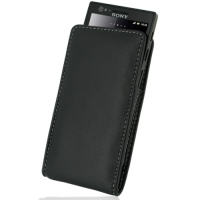 Sony Xperia P Pouch Case with Belt Clip PDair Premium Hadmade Genuine Leather Protective Case Sleeve Wallet