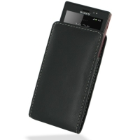 Leather Vertical Pouch Belt Clip Case for Sony Xperia Sola MT27i (Black)