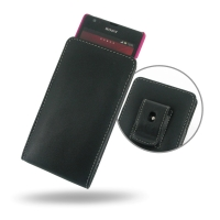 Sony Xperia SP (in Slim Cover) Pouch Clip Case PDair Premium Hadmade Genuine Leather Protective Case Sleeve Wallet