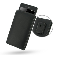 Sony Xperia TX Pouch Case with Belt Clip (Black) PDair Premium Hadmade Genuine Leather Protective Case Sleeve Wallet