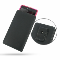 Leather Vertical Pouch Belt Clip Case for Sony Xperia Z L36H ( Compatible with 1.0 mm Slim Case / Cover on )