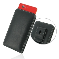 Sony Xperia Z3 Compact Pouch Case with Belt Clip PDair Premium Hadmade Genuine Leather Protective Case Sleeve Wallet