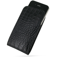 Leather Vertical Pouch Case for Apple iPhone 4 | iPhone 4s (Black Crocodile Pattern)