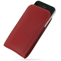 iPhone 4 4s Leather Sleeve Pouch Case (Red) PDair Premium Hadmade Genuine Leather Protective Case Sleeve Wallet