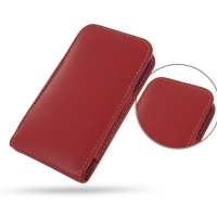 Leather Vertical Pouch Case for Apple iPhone 5 | iPhone 5s ( Compatible with 1.0 mm Slim Case / Cover on ) (Red)