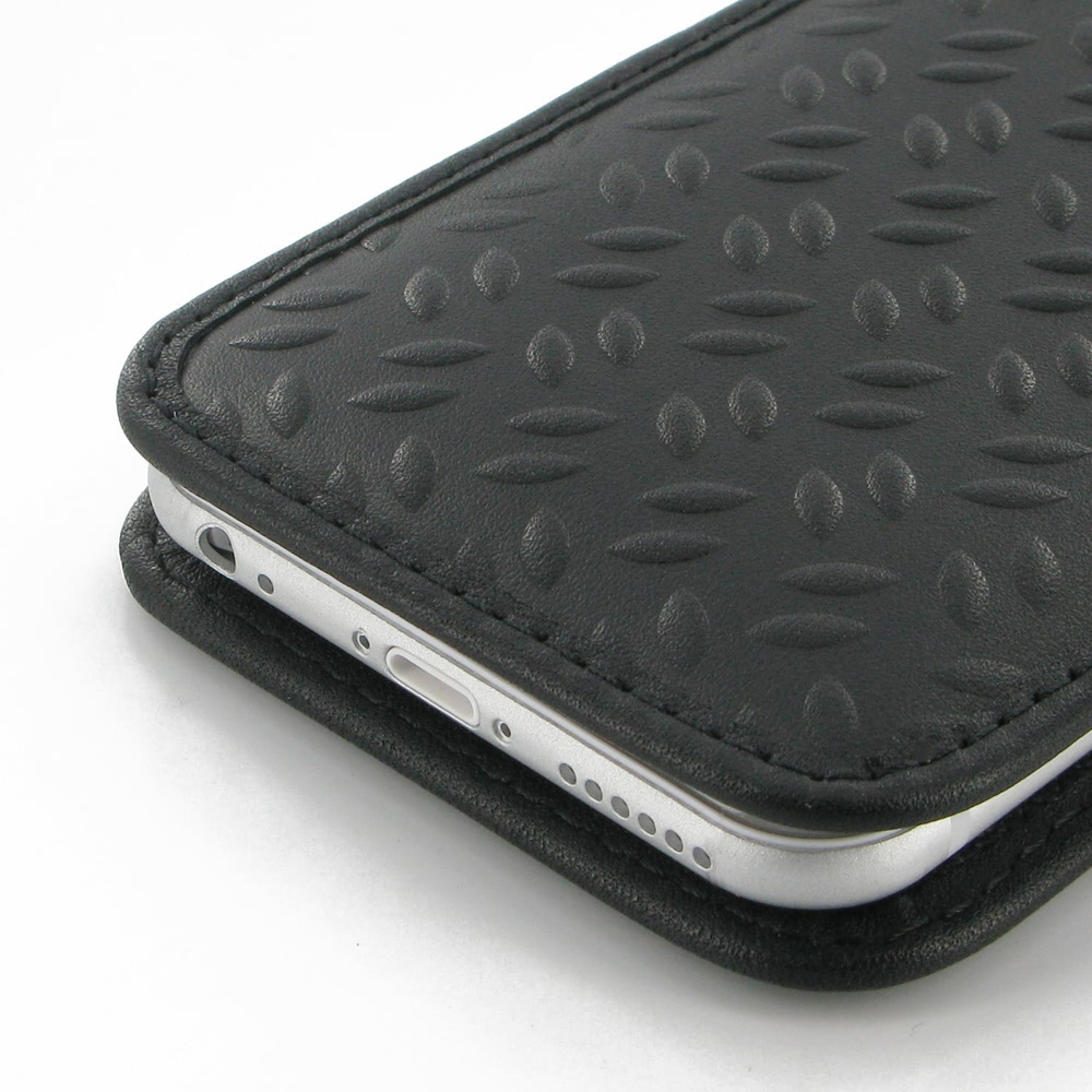 iPhone 6 6s Leather Sleeve Pouch Case (Black Metal Pattern) PDair Premium Hadmade Genuine Leather Protective Case Sleeve Wallet