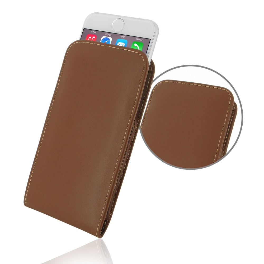 iphone 6 6s leather sleeve pouch case brown pdair. Black Bedroom Furniture Sets. Home Design Ideas