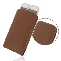 Leather Vertical Pouch Case for Apple iPhone 6 | iPhone 6s ( Compatible with 1.0 mm Slim Case / Cover on ) (Brown)