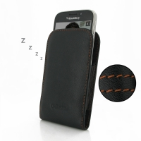 Leather Vertical Pouch Case for BlackBerry Classic (Orange Stitch)