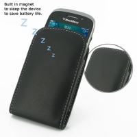 BlackBerry Curve 9320 Leather Sleeve Pouch Case (Black) PDair Premium Hadmade Genuine Leather Protective Case Sleeve Wallet
