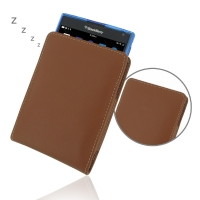Leather Vertical Pouch Case for BlackBerry Passport ( Compatible with 1.0 mm Slim Case / Cover on ) (Brown)