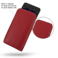 BlackBerry Z10 Leather Sleeve Pouch Case (Red) PDair Premium Hadmade Genuine Leather Protective Case Sleeve Wallet