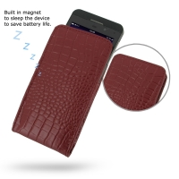 BlackBerry Z10 Leather Sleeve Pouch Case (Red Croc Pattern) PDair Premium Hadmade Genuine Leather Protective Case Sleeve Wallet