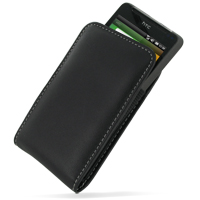 Leather Vertical Pouch Case for HTC HD Mini T5555/HTC Photon (Black)