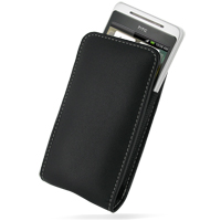 Leather Vertical Pouch Case for HTC Hero (Black)