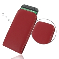 HTC One M8 Leather Sleeve Pouch Case (Red) PDair Premium Hadmade Genuine Leather Protective Case Sleeve Wallet