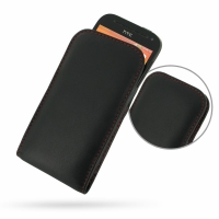 Leather Vertical Pouch Case for HTC One SV C525e (Red Stitch)
