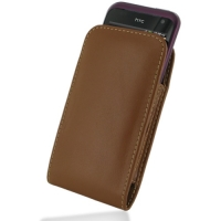 HTC Rhyme Leather Sleeve Pouch Case (Brown) PDair Premium Hadmade Genuine Leather Protective Case Sleeve Wallet