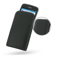 Leather Vertical Pouch Case for Huawei Ascend G 300 U8818 (Black)