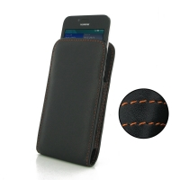 Huawei Ascend Y560 Leather Sleeve Pouch Case (Orange Stitch) PDair Premium Hadmade Genuine Leather Protective Case Sleeve Wallet