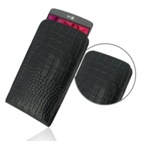 LG G3 Leather Sleeve Pouch Case (Black Croc Pattern) PDair Premium Hadmade Genuine Leather Protective Case Sleeve Wallet