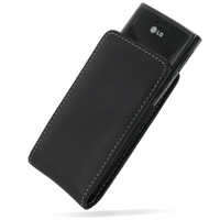 Leather Vertical Pouch Case for LG GD550 (Black)