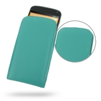 Nexus 4 Leather Sleeve Pouch Case (Aqua) PDair Premium Hadmade Genuine Leather Protective Case Sleeve Wallet