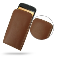Nexus 4 Leather Sleeve Pouch Case (Brown) PDair Premium Hadmade Genuine Leather Protective Case Sleeve Wallet