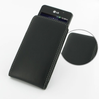 LG Optimus 3D Max Leather Sleeve Pouch Case (Black) PDair Premium Hadmade Genuine Leather Protective Case Sleeve Wallet