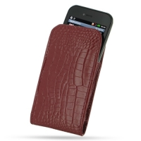 LG Optimus SOL Leather Sleeve Pouch Case (Red Croc Pattern) PDair Premium Hadmade Genuine Leather Protective Case Sleeve Wallet