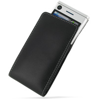 Motorola DEVOUR A555 Leather Sleeve Pouch Case (Black) PDair Premium Hadmade Genuine Leather Protective Case Sleeve Wallet