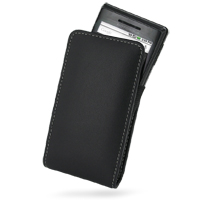 Leather Vertical Pouch Case for Motorola Milestone A855 (Black)