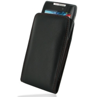 Leather Vertical Pouch Case for Motorola RAZR XT910/Droid RAZR XT912 (Red Stitch)