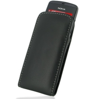 Nokia Asha 300 Leather Sleeve Pouch Case (Black) PDair Premium Hadmade Genuine Leather Protective Case Sleeve Wallet