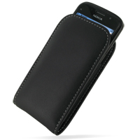 Nokia E5 Leather Sleeve Pouch Case (Black) PDair Premium Hadmade Genuine Leather Protective Case Sleeve Wallet