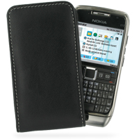 Leather Vertical Pouch Case for Nokia E71 (Black)