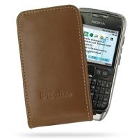 Leather Vertical Pouch Case for Nokia E71 (Brown)