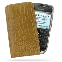 Leather Vertical Pouch Case for Nokia E71 (Brown Crocodile Pattern)