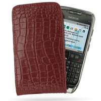 Leather Vertical Pouch Case for Nokia E71 (Red Crocodile Pattern)