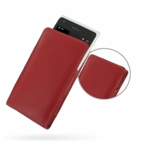 Nokia Lumia 900 Leather Sleeve Pouch Case (Red) PDair Premium Hadmade Genuine Leather Protective Case Sleeve Wallet