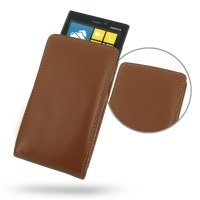 Nokia Lumia 920 Leather Sleeve Pouch Case (Brown) PDair Premium Hadmade Genuine Leather Protective Case Sleeve Wallet