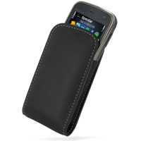 Leather Vertical Pouch Case for Nokia N86 8MP (Black)