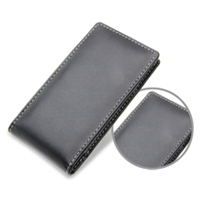 Panasonic Eluga Leather Sleeve Pouch Case (Black) PDair Premium Hadmade Genuine Leather Protective Case Sleeve Wallet