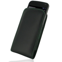 Leather Vertical Pouch Case for Samsung Galaxy Nexus GT-i9250 SCH-i515 (Green Stitch)