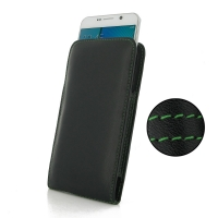 Leather Vertical Pouch Case for Samsung Galaxy Note 5 | Samsung Galaxy Note5 (Green Stitch)